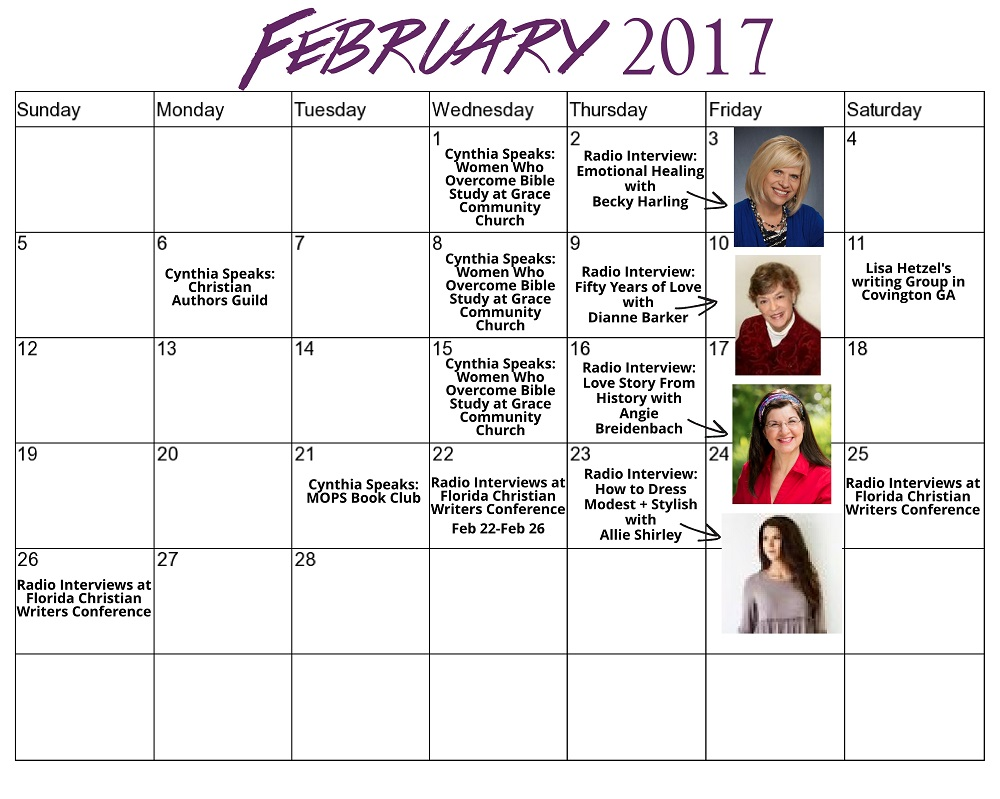 Feb 2017 Cynthia L. Simmons Schedule for Website