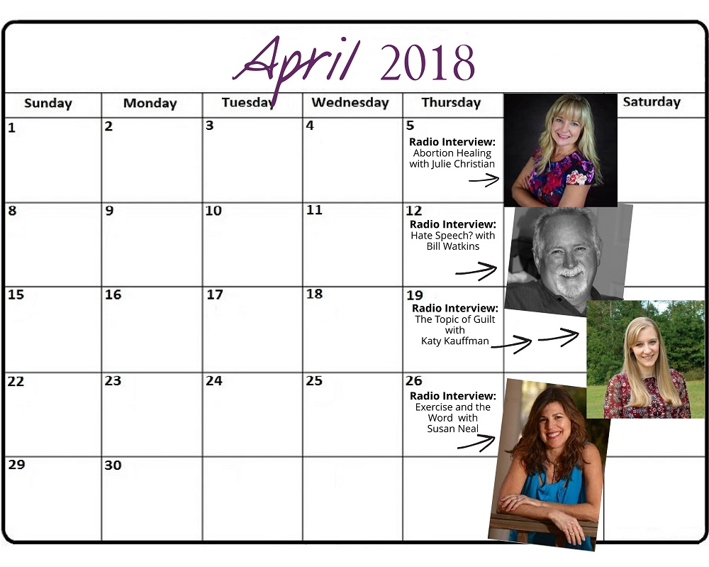 April 2018 Heart of the Matter Radio Schedule - Cynthia L. Simmons