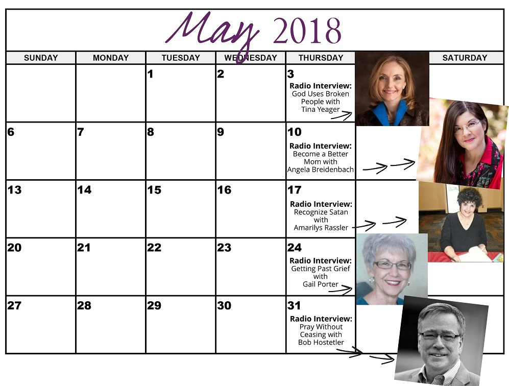 May 2018 Heart of the Matter Radio Schedule - Cynthia L. Simmons