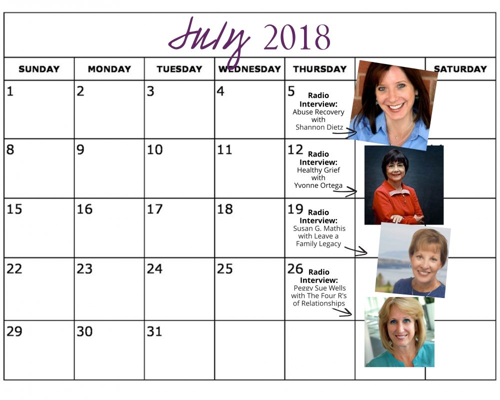 July 2018 Heart of the Matter Radio Schedule - Cynthia L. Simmons