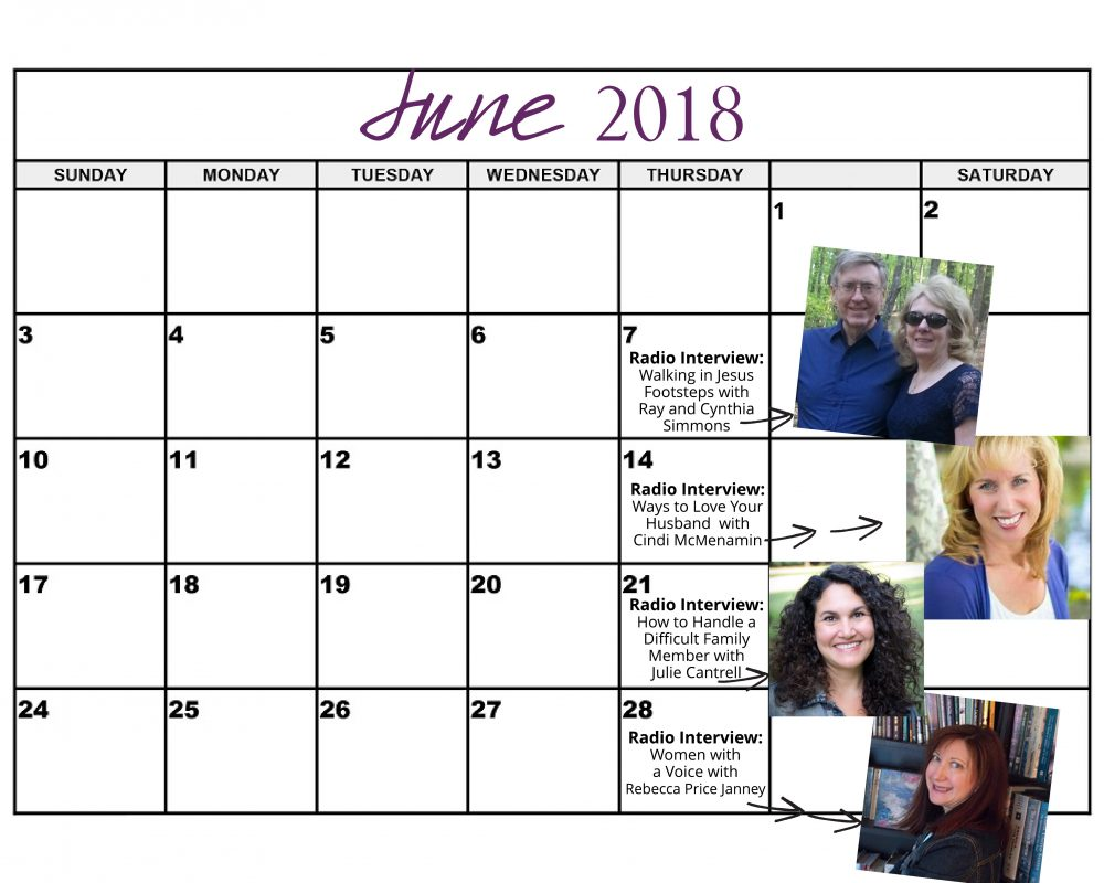 June 2018 Heart of the Matter Radio Schedule - Cynthia L. Simmons