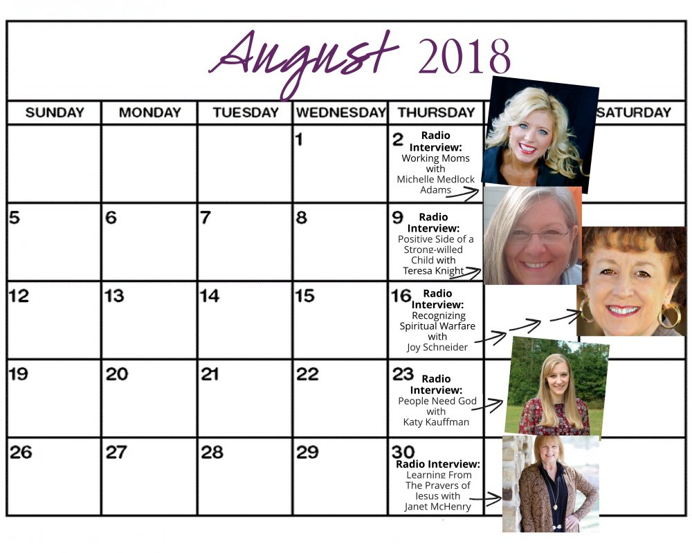 August 2018 Heart of the Matter Radio Schedule - Cynthia L. Simmons