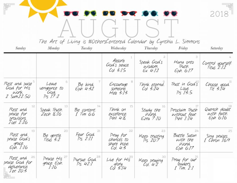 The Art of Living is #OthersCentered Calendar-August 2018-Cynthia L. Simmons