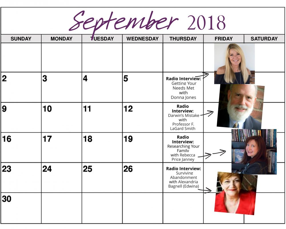 September 2018 Heart of the Matter Radio Schedule - Cynthia L. Simmons