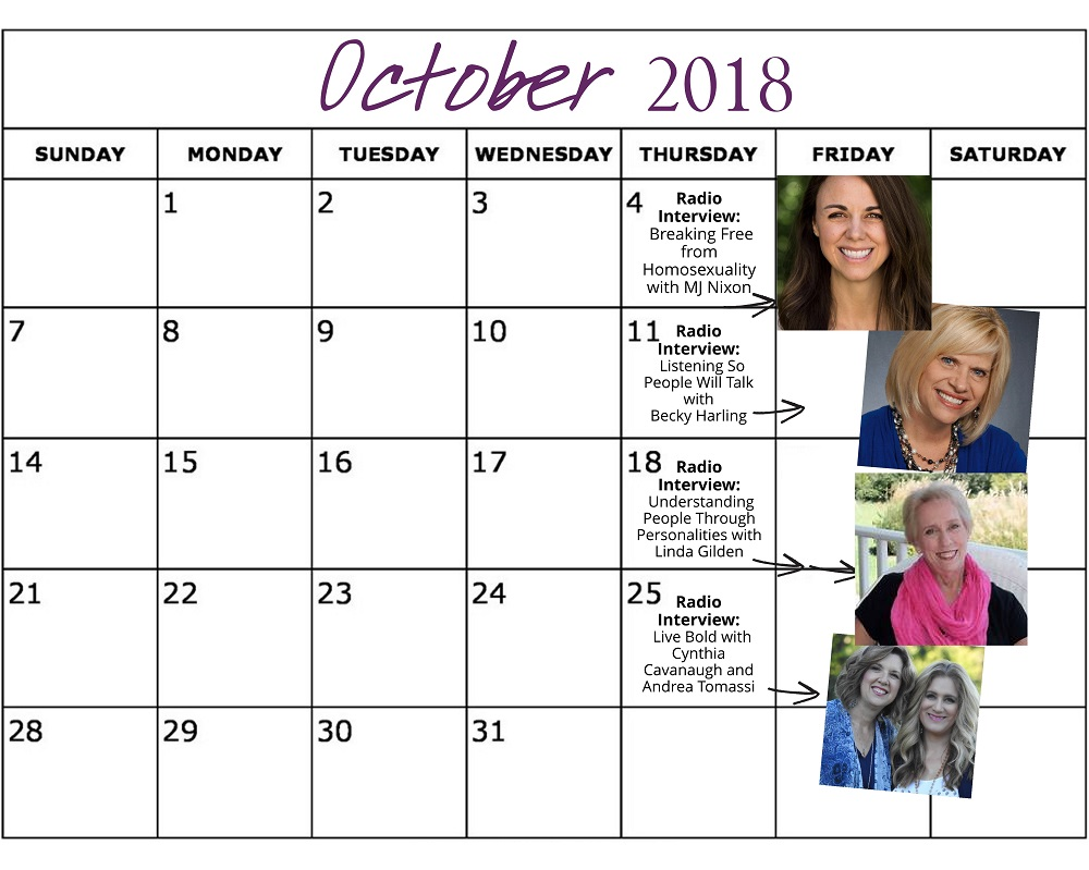 October 2018 Heart of the Matter Radio Schedule - Cynthia L. Simmons (1)