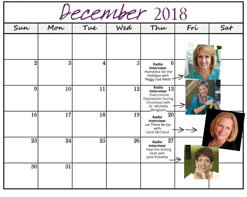 December 2018 Heart of the Matter Radio Schedule - Cynthia L. Simmons