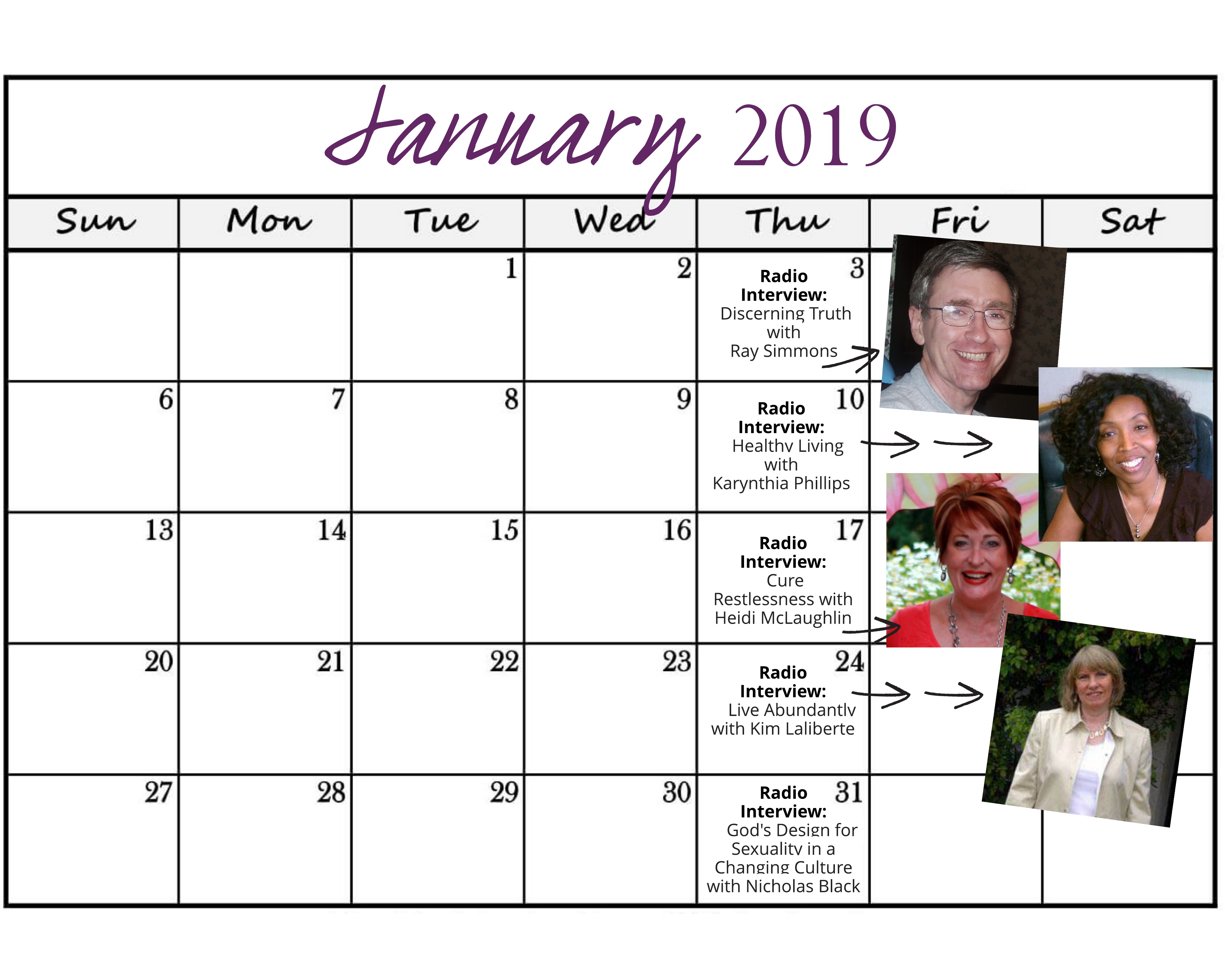 January 2019 Heart of the Matter Radio Schedule - Cynthia L. Simmons