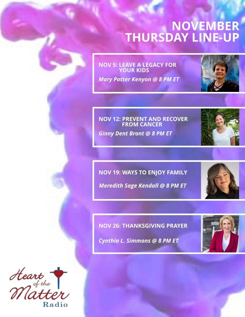 Nov 2020-Heart of the Radio Thursday Line-Up